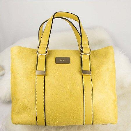 Bolsa Grande Parfois de Camurça Amarela