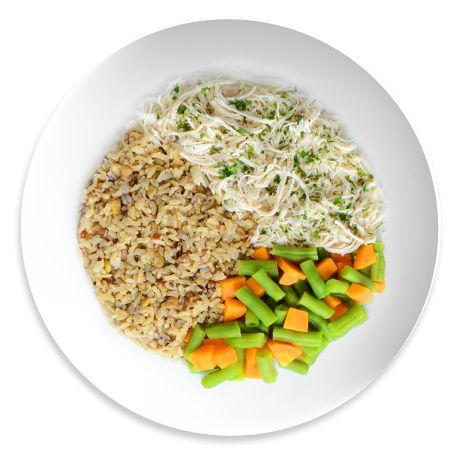 Frango desfiado, Arroz integral e mix de Legumes cozidos