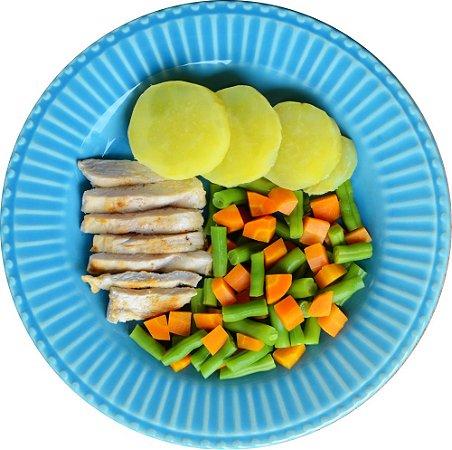 Frango em tiras, Batata Doce e mix de Legumes