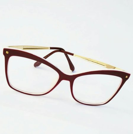 8c2a95f1f Óculos Receituário Retangular - Vermelho & Dourado. - Ary Óculos e ...