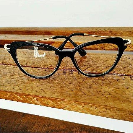 9d324ca44 Óculos Receituário Gatinho - Preto & Dourado - Ary Óculos e Armações