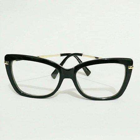 6a81289ce Óculos Receituário Retangular - Preto & Dourado - Ary Óculos e Armações