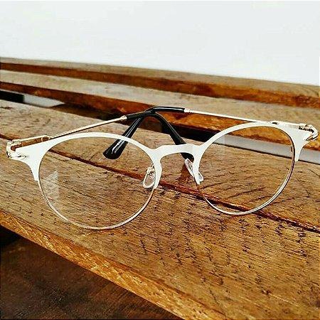 a9ae8042e Óculos Receituário Arredondado - Branco & Dourado - Ary Óculos e ...