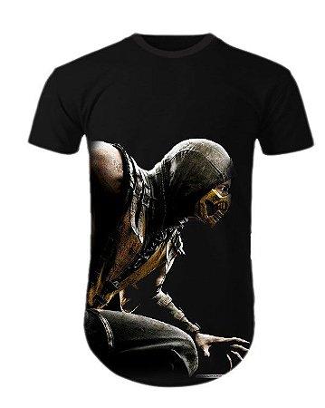 Camiseta Oversized Longline Mortal Kombat X Scorpion