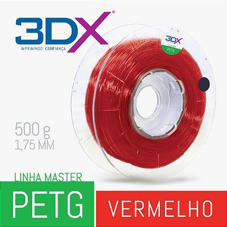 Filamento PETG 500g 1,75 Vermelho Translucido