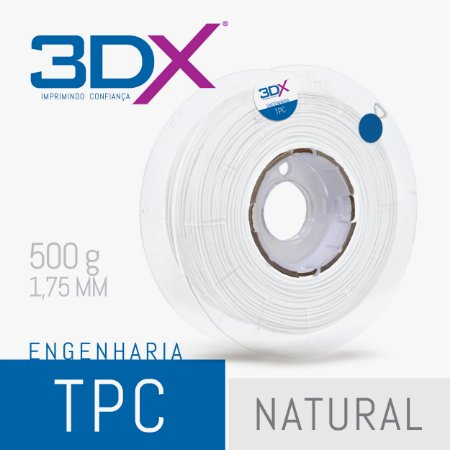 Filamento TPC Flexível D40 500g 1,75 Natural (Firme)