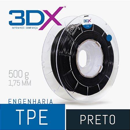 Filamento TPE Flexível D40 500g 1,75 Preto (Firme)