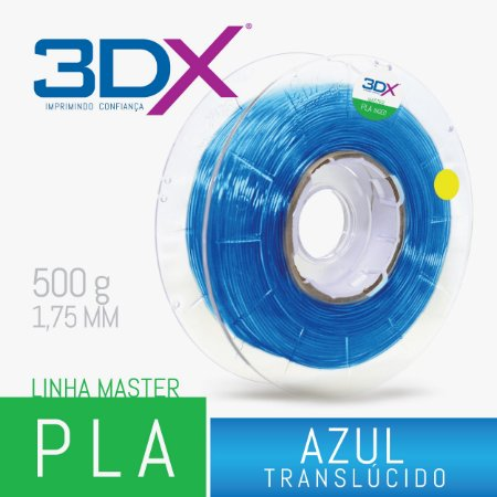 Filamento PLA HT 500g 1,75 Azul Translucido