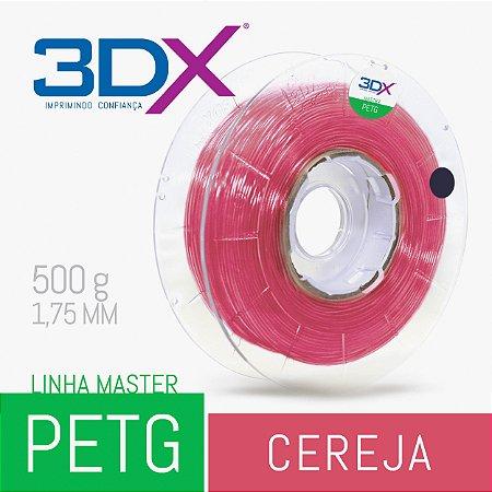 Filamento PETG 500g 1,75 Cereja Translucido
