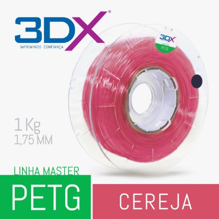 Filamento PETG 1Kg 1,75 Cereja Translucido