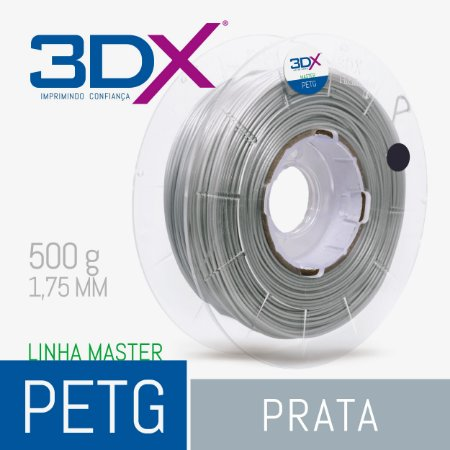 Filamento PETG 500g 1,75 Prata