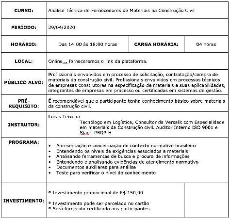 0220 Análise Técnica de Fornecedores de Materiais