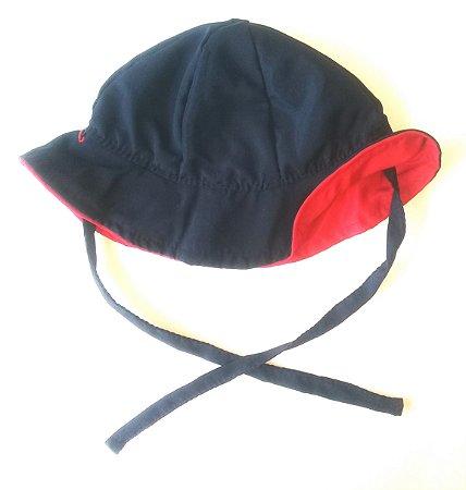 Chapéu dupla-face vermelho+marinho