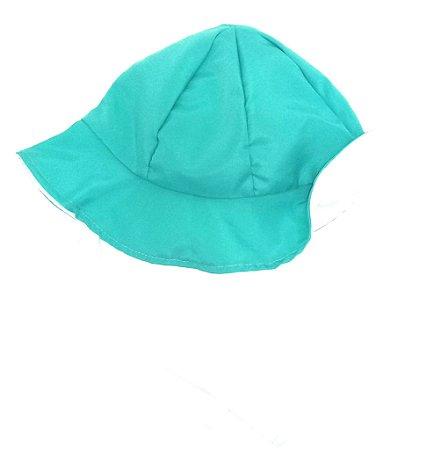 Chapéu dupla-face turquesa+branco