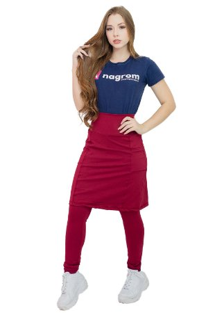 Calça com Saia Moda Evangélica Fitness Vinho Anagrom Ref7005