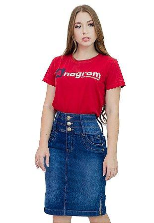 Saia Jeans Evangélica Cós Largo Detalhe Zíper Anagrom Ref182