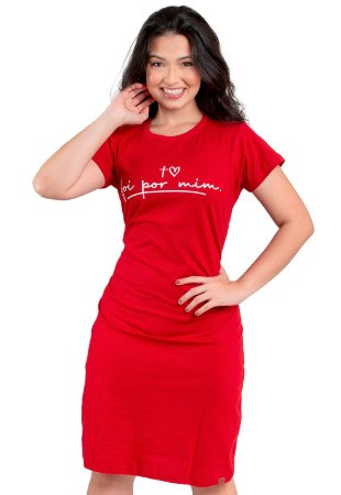 Vestido T-Shirt Moda Evangélica Vermelho Anagrom Ref.V017