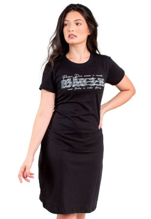 Vestido T-Shirt Preto Malha Moda Evangélica Anagrom Ref.V020