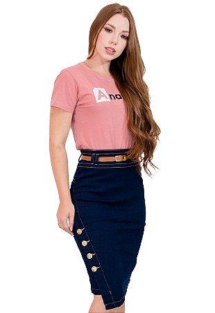 Saia Jeans Midi Transpassada Moda Evangélica Anagrom Ref.195