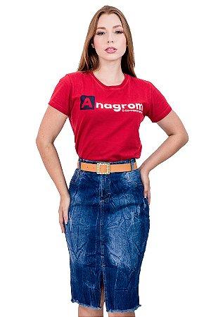 Saia Jeans Azul Lavado Trabalhado Evangélica Anagrom Ref.193