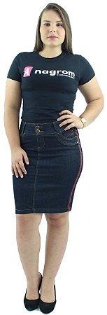 Saia Jeans Secretária Listras Laterais Ref.080