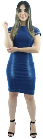 Vestido Jeans Feminino Tubinho Degradê Ref.5003