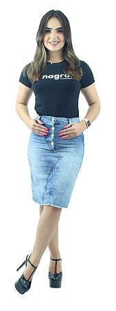 Saia Jeans Azul Claro Mesclado 4 Botões na Frente Ref.113