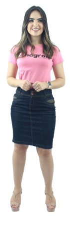 Saia Secretária Jeans Escuro Bolso Listrado Ref.116