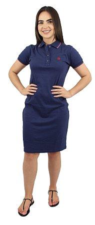 Vestido Gola Polo Malha Azul Ref. 9002