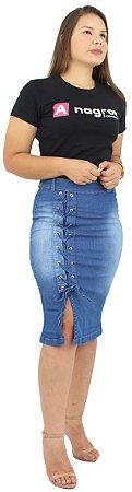 Saia Jeans Evangélica Azul Claro com Tiras Ref.149
