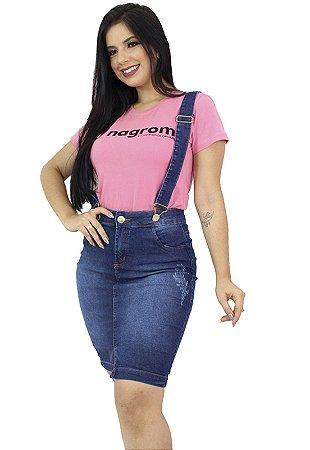 Salopete Jeans Destroyed Suspensório Anagrom Ref.4029