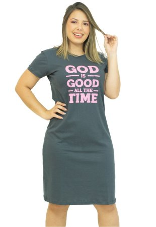 Vestido Moda Evangélica Malha Chumbo Anagrom Ref.V003