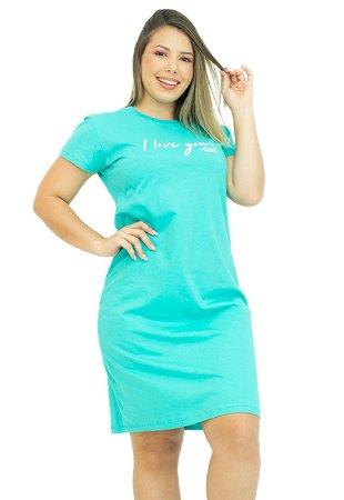 Vestido T-Shirt em Algodão Verde Piscina Anagrom Ref.V008