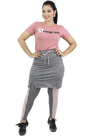 Calça com Saia Moda Evangélica Fitness Cinza Anagrom Ref7004