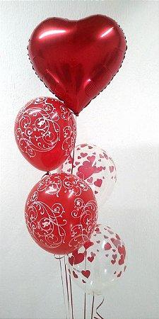 Arranjo com 5 Balões com gás hélio