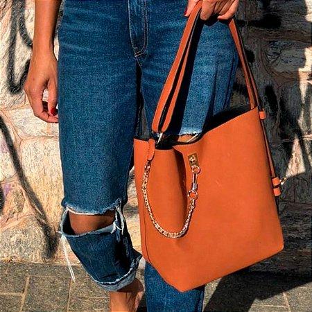 Bolsa Saco feminina grande com correntes em camurça em varias cores