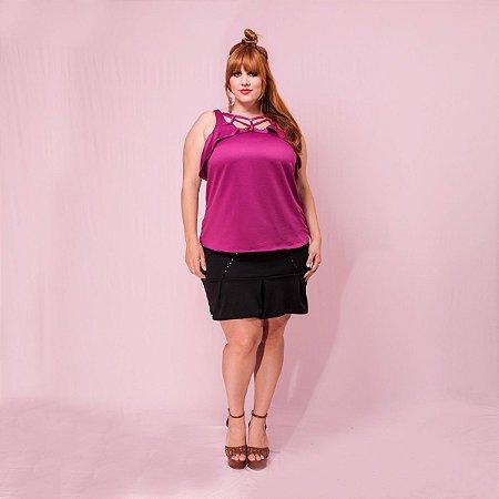 Blusa alça strappy com babados - Plus Size