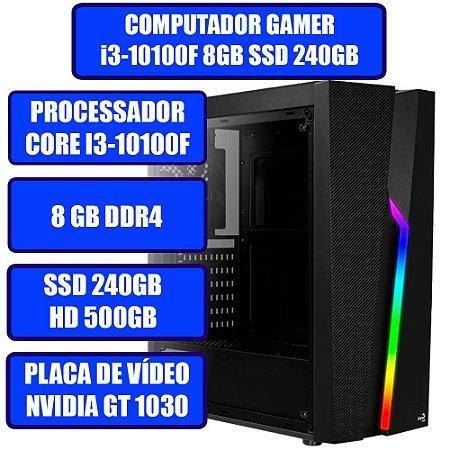 COMPUTADOR GAMER GENIOS I3, 8GB, SSD 240GB, HD 500GB, PLACA DE VÍDEO GT 1030 2GB E WINDOWS 10
