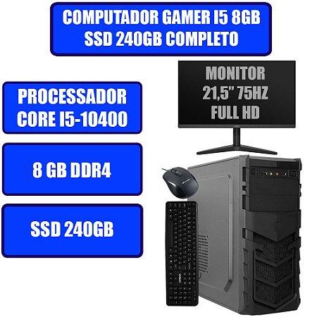 COMPUTADOR GENIOS HOME-OFFICE CORE I5-10400, 8GB, SSD 240GB, WINDOWS 10, MONITOR, TECLADO E MOUSE