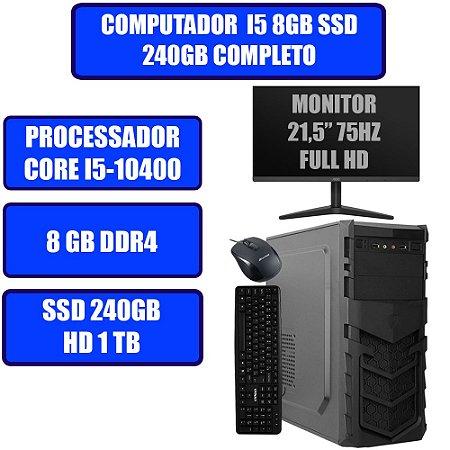 COMPUTADOR GENIOS HOME-OFFICE CORE I5-10400, 8GB, SSD 240GB, HD 1TB WINDOWS 10, MONITOR, TECLADO E MOUSE