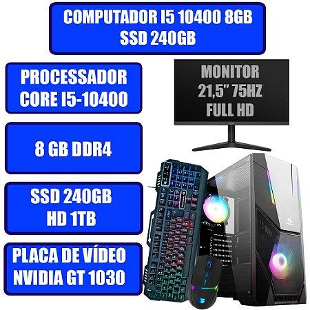 COMPUTADOR GAMER GENIOS I5, 8GB, SSD 240GB, HD 1TB, WINDOWS 10, PLACA DE VÍDEO GT 1030, MONITOR, TECLADO E MOUSE GAMER