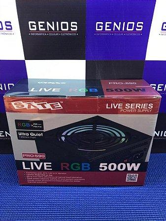 Fonte Atx 500w Sate Live Rgb Bivolt Pro-590