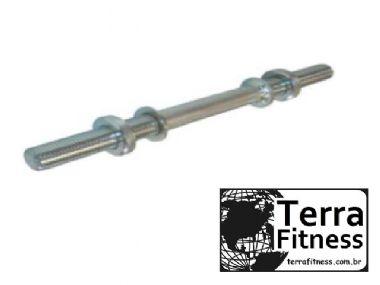 Barra maciça cromada 40cm roscada - Terra Fitness