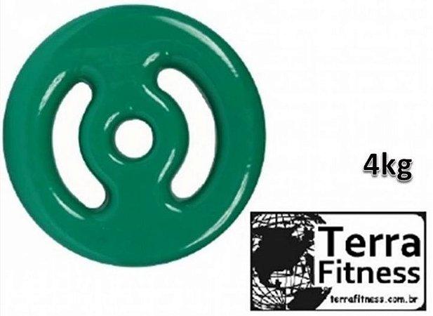 Anilha Emborrachada em Pvc ....... Verde 4Kg - Terra Fitness