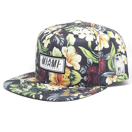 Boné Classic Hats Aba Reta florido Miami Snapback - Garcia Surf 70f69c961db