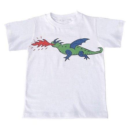 Camiseta Manga Curta em Malha Branca Dragão Bbmoderno