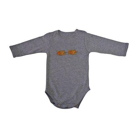 Body em Malha Cinza Tatu Manga Longa para Bebê