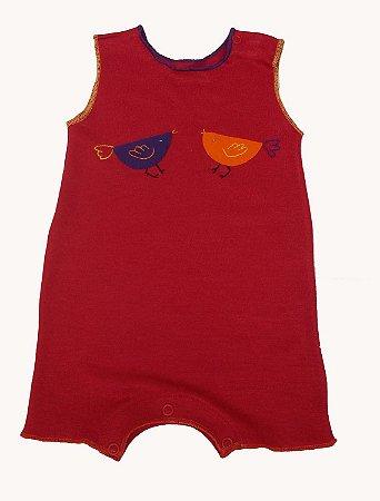 Macacão Cavado Vermelho para Bebê Unisssex