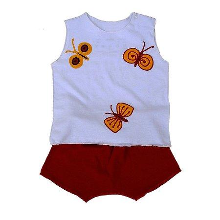 Conjunto Shorts Vermelho e Regata Branca para Bebê