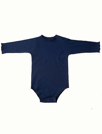 Body Manga Longa Marinho para Bebê
